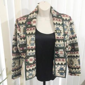 Vintage 90s Crop Boho Aztec Tapestry Blazer Jacket